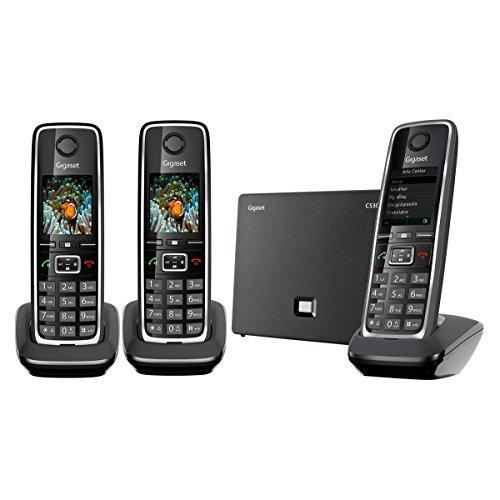 Gigaset C530 IP Trio - Teléfono inalámbrico (3 terminales, DECT, híbrido), color negro (importado)
