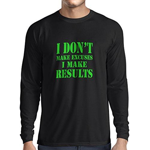 T-Shirt Manches Longues Homme I make Results - perdre du poids des citations rapides et des énonciations de motivation constructeur de muscle (XX-Large Noir Verte)