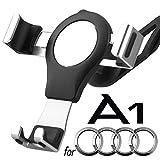 Porta Cellulare da Auto per Audi A1, 360 Rotatable Porta Cellulare Auto Gravity Smartphone Supporto Metallo Lega di Alluminio Universale Audi Phone Holder Car Phone Holder (Argento)