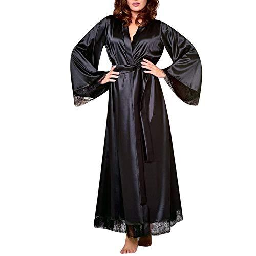 Lonshell Damen Lange Schlafrock Kimono Robe Satin Morgenmantel Lace-up Bademantel Langarm Schlafmantel Schlafanzüge mit Gürte Pajama Negligee (Satin-robe Disney)