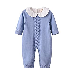 Auro Mesa Infant Baby Peter pan Collar Knitted Clothes Baby Outfits Baby Jumpsuit Pink, Blue (9-12M, Blue)