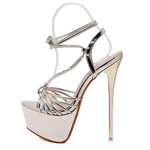 Damenabendkleiderschuhe, 2019 Wilde Wasserdichte Plattform europäischen und amerikanischen Stil Riemen High Heel sexy Damen Sandalen (Gold) -