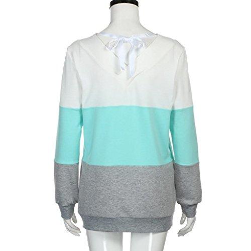 Bluestercool Femmes Chemisier Manche Longue Rayé Sweat-shirt Tops avec Rubans Bleu