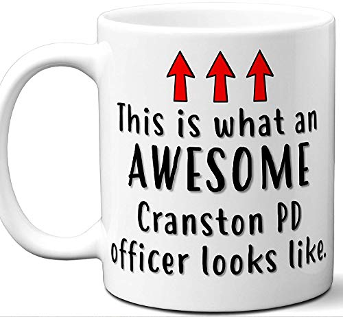 Police Officer Gifts. Funny Unique Cranston PD Officer Mug. Men Women Valentines Academy Graduation Retirement Valentines Day Personalized Christmas Birthday.