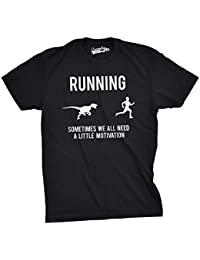 Crazy Dog Tshirts - Mens Running Motivation Raptor Chase T Shirt Funny Dinosaur tee For Guys