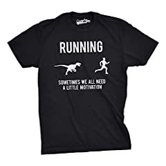 Idea Regalo - Crazy Dog Tshirts - Mens Running Motivation Raptor Chase T Shirt Funny Dinosaur Tee For Guys (Black) - XL - Divertente Uomo Maglietta