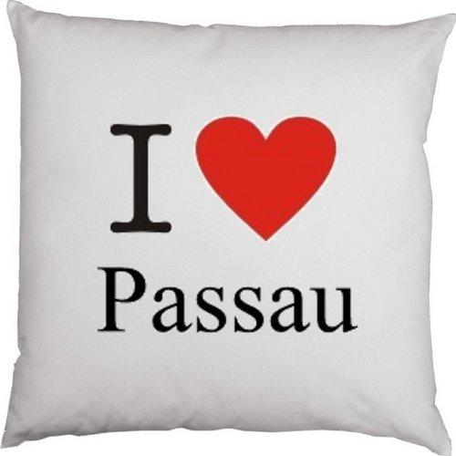 Kissen mit Füllung, Dekokissen, Couchkissen, Deko mit Herz - I love Passau