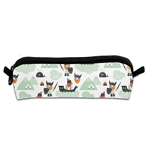 Cute Historical Hero Theme Viking Battle Ship Whale And Scandinavian Woodland In Mint And Orange Pencil Pouch Bag Stationery Pen Case Makeup Box with Zipper Closure 21 X 5.5 X 5 cm Bunny Sexy Velvet