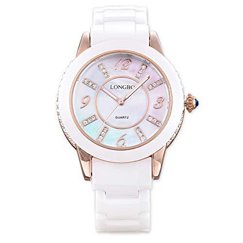 GLDMT Keramik-Mode-Uhr Stahlstreifen Damenuhr, Hochwertige Quarzuhr, Wasserdichtes Mode-Armband Trendstudentenuhr, Damengürteluhr,B