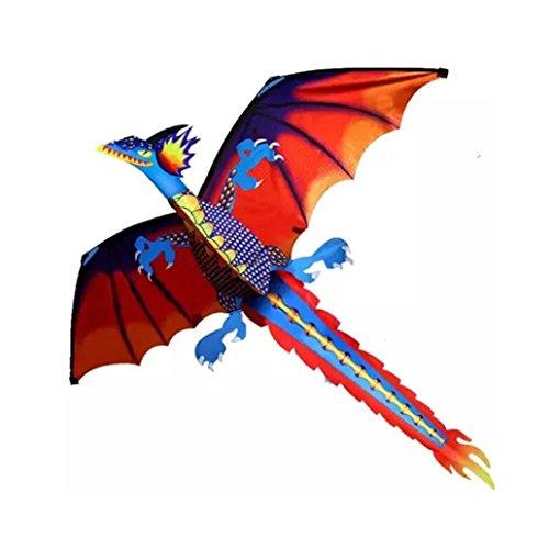 ZEZKT 3D Dragon Kite, Einleiner Drachen für Kinder - Beeindruckender Kinderdrachen mit Schweif