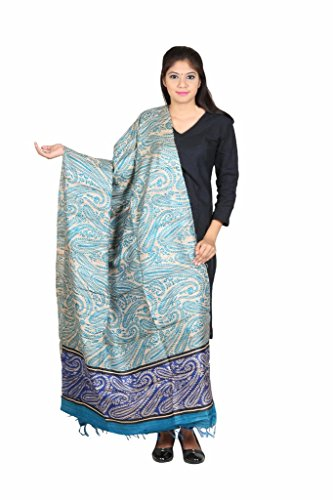 Kaarubaki Blue Traditional Fine Tussar Silk Dupatta