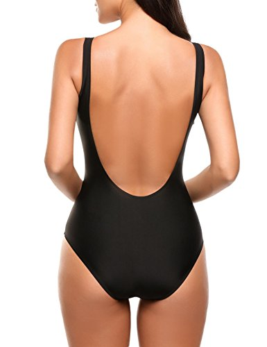 Bademode Pagacat Damen Einteiler Push Up Badeanzug V-Ausschnitt Einfarbig Schwimmanzug Schwarz