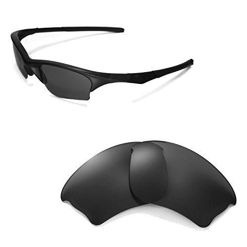 Walleva Ersatzgläser für Oakley Half Jacket XLJ Sonnenbrille -Mehrfache Optionen (Schwarz - polarisiert)
