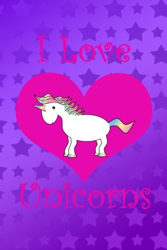 I Love Unicorns: Cute rainbow unicorn pink heart purple stars notebook por Brothergravydesigns