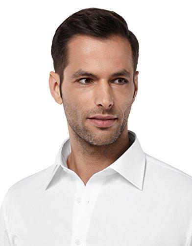 Vincenzo Boretti Herren-Hemd Bügelfrei 100% Baumwolle Kurz-Arm Slim-Fit Tailliert Uni-Farben - Männer Hemden für Anzug mit Krawatte Business oder Freizeit Weiß