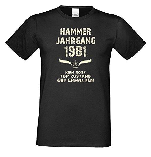 Geschenkidee zum 35. Geburtstag :-: Herren kurzarm Geburtstags-Sprüche-T-Shirt mit Jahreszahl :-: Hammer Jahrgang 1981 :-: Farbe: schwarz Schwarz