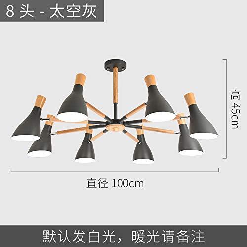 Persönlichkeit wohnzimmer büro led licht 8 kopf raum grau mit zweifarbigen led7 watt lampe