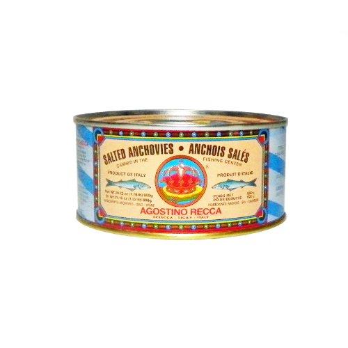 Recca Acciughe salate - peso netto 1 libbra. 12 once (peso sgocciolato 1 libbra, 3 once)