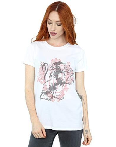 Harry Potter Damen Gryffindor Lion Crest Boyfriend Fit T-Shirt Weiß XXXX-Large