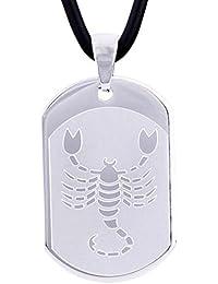 DonDon 50 cm Kautschuk Halskette mit Edelstahl Sternzeichen Skorpion Anhänger in einem Samtbeutel