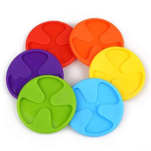 Arteki 6Pcs Silicone Coaster Set Anti-Slip Cup Lid Wine Glass Mat Drink Markers Pad Slip (Wine Cup Markers)