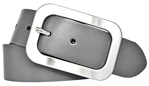 Vanzetti Damen Leder Gürtel Vollrindleder Damengürtel grau 40mm (80 cm)