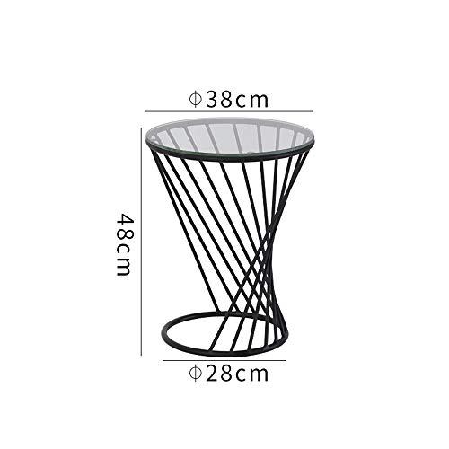 FEI Table d'appoint de table d'appoint Table d'appoint ronde en métal avec plateau en verre 3 couleurs (Couleur : NOIR, taille : 38 * 48CM)