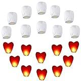 Set de 20 linternas chinas (10pcs White + 10pcs Red Heart) Linternas ecológicas para bodas, fiestas, funerales, año nuevo, año nuevo chino, año nuevo Eve Flying Lantern
