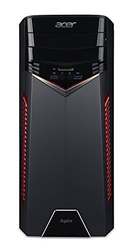 Acer Aspire GX-781 Gaming Desktop PC (Intel Core i5-7400, 8GB RAM, 128GB SSD, 1.000GB HDD, Radeon RX 480, Win 10) schwarz/rot