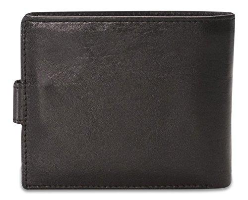 Brunhide - Faltbare Brieftasche mit Druckknopf für Herren - Echtes weiches Leder - # 232-300 Schwarz