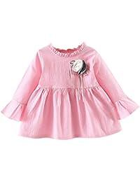 8e5b1ea8b Vestido de Flores Niñas Primavera K-Youth Vestidos de Fiesta Niña 0-24  Meses Vestido de Manga Larga Plisado Niños Princesa Ropa Bebe Recién…