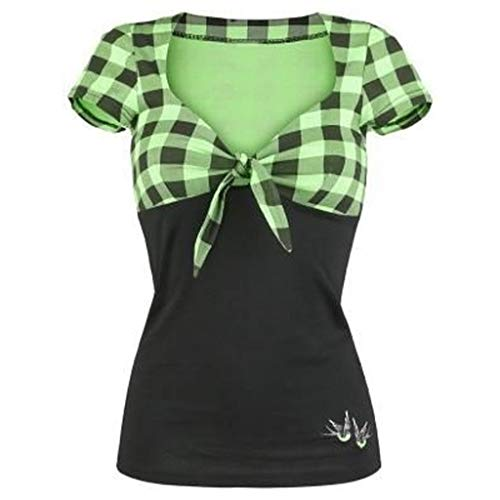 SEWORLD Oberteil Bluse Elegant Kleid Damen Mode Bauchfreier Mädchen Tops Freizeit Bannfarbe Weste V-Ausschnitt Kariertes kurzärmeliges Shirt Pullover Tops Shirt(Grün,EU-36/CN-M) Mädchen Mode Kleid