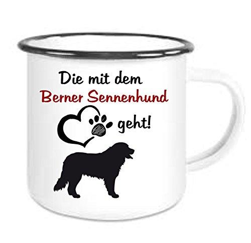 crealuxe Emailtasse mit Rand Die mit Dem Berner Sennenhund Geht - Kaffeetasse mit Motiv, Bedruckte Email-Tasse mit Sprüchen Oder Bildern