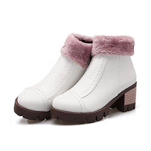AllhqFashion Damen Niedrig-Spitze Weiches Material Mittler Absatz Stiefel mit Metallisch Weiß