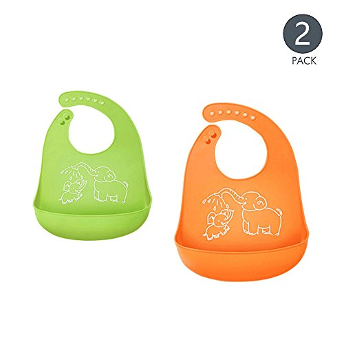 Babero de bebé , GKONGU 2 Piezas Baberos para Bebé de Silicona...