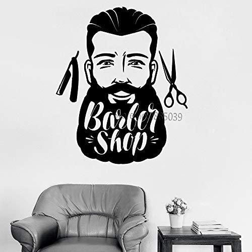 XCGZ Wandsticker Großen Schnurrbart Mann Barbershop Decor Vinyl - 50 S Frisuren