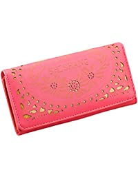 Watermelon Red : Malloom® Fashion Hollow Out Damask Wallet Korean Small Fresh Wallet Mobile Phone Bag