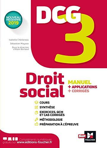 DCG 3 - Droit social - Manuel et applications par Isabelle Chedaneau