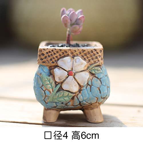 Kleine Bean Pot (LUOSHEN Moderne Pflanzer Vintage Sukkulenten Blumentopf Keramik Hand bemalt Steinzeug Bunte Töpfe, Bohnen Töpfe 1, Kleine 4 * 6 cm)