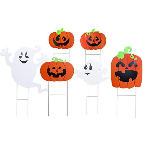 Amosfun Halloween Yard Zeichen Cute Kürbis Ghost Dekoration Rasen Dekoration Zeichen Für Outdoor Halloween Hof Dekorationen, 6 Stück (Halloween-zeichen Für Hof)