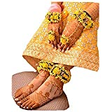 Sarpi Crafts Flower Hand and Leg Fabric Jewelry Set for Women with 4 Color Items (Yellow)