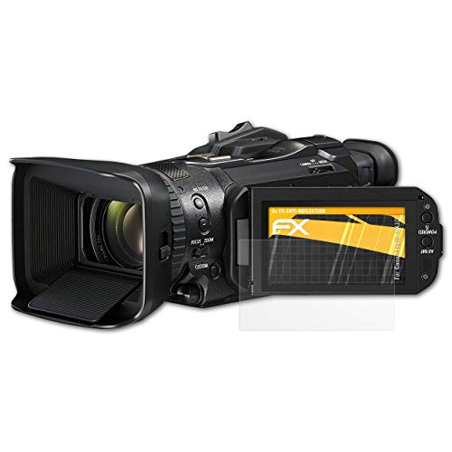 atFoliX Panzerfolie kompatibel mit Canon Legria GX10 Schutzfolie, entspiegelnde und stoßdämpfende FX Folie (3X) Canon Screen Protector