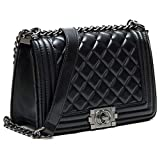Neue europäische und amerikanische Mode Damen Tasche Lingge Tasche Kette Tasche Temperament Umhängetasche Messenger Bag (Schwarz, 24 * 20 * 11cm)
