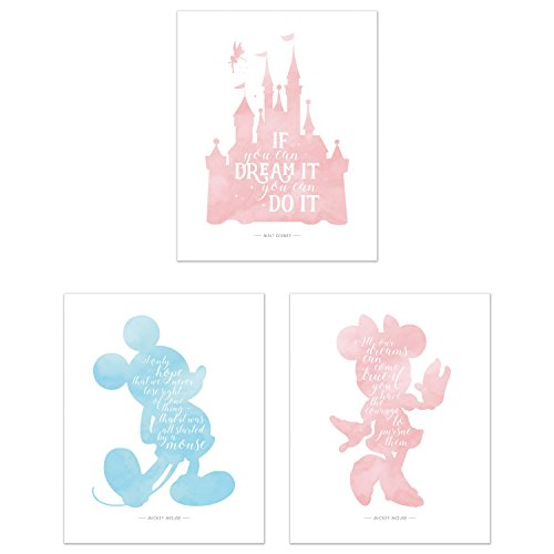 y Castle Mickey Minnie Wandtattoo Decor - Set von 3 (8 x 10) Poster Fotos ()