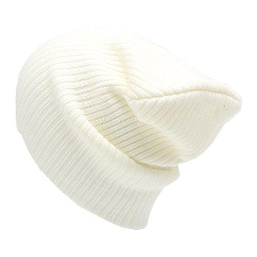FAMILIZO los hombres son las mujeres beanie sombrero caliente de lana de punto unisex gorra de esquí de invierno de hip-hop (Blanco)