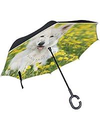 MyDaily Paraguas invertido de Doble Capa para Coches, Paraguas invertido, Suizo, Pastor,