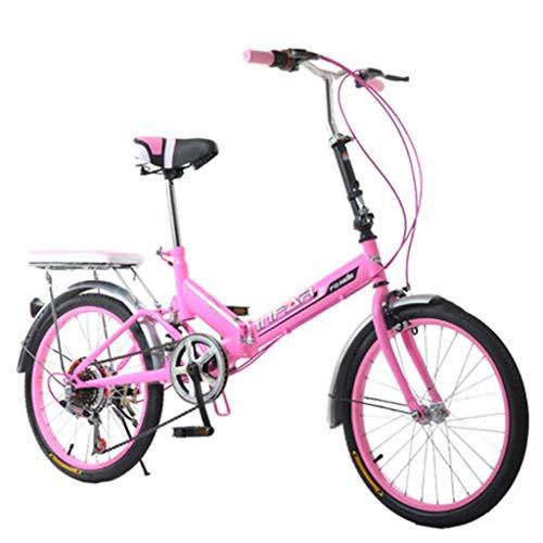 Pocket bikes d'enduro Vélo Pliant vélo féminin 6 Vitesses 20 Pouces Ensemble Vitesse Variable vélo vélo (Color : Pink, Size : 155 * 111 * 25cm)