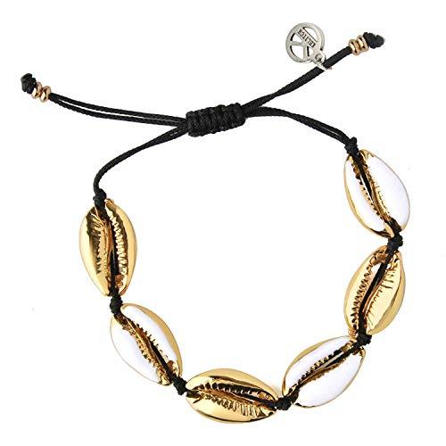 Muschel Gold Muschel Kauri Perlen Freundschaftsbänder Boho Mode Beach SeaMuschel Strand Armbänder Frauen Schmuck -Weiß ()