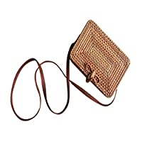 Carolui Ladies Women Handbag Vintage Rattan Handwoven Straw Weave Leather Strap Bali Retro Beach Rectangular Crossbody Shoulder Bag (A)