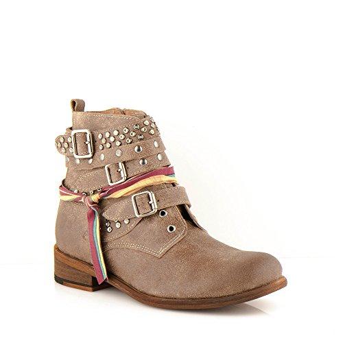 Felmini - Chaussures Femme - Tomber en amour avec Bomber 9910 - Bottes Cowboy & Biker - Cuir Véritable - Marron Marron